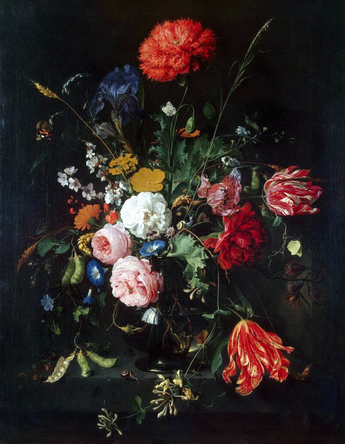 Bouquet of flowers in a glass vase (17th century) (87.5 x 67.5) (St. Petersburg, Hermitage)
